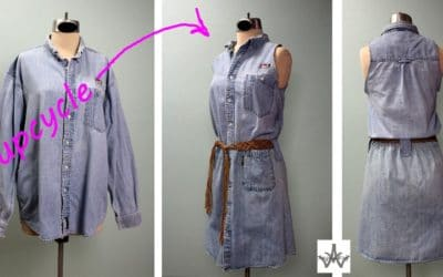 DIY Upcycle & Recycle 2 Denim Shirts into 1 Dress