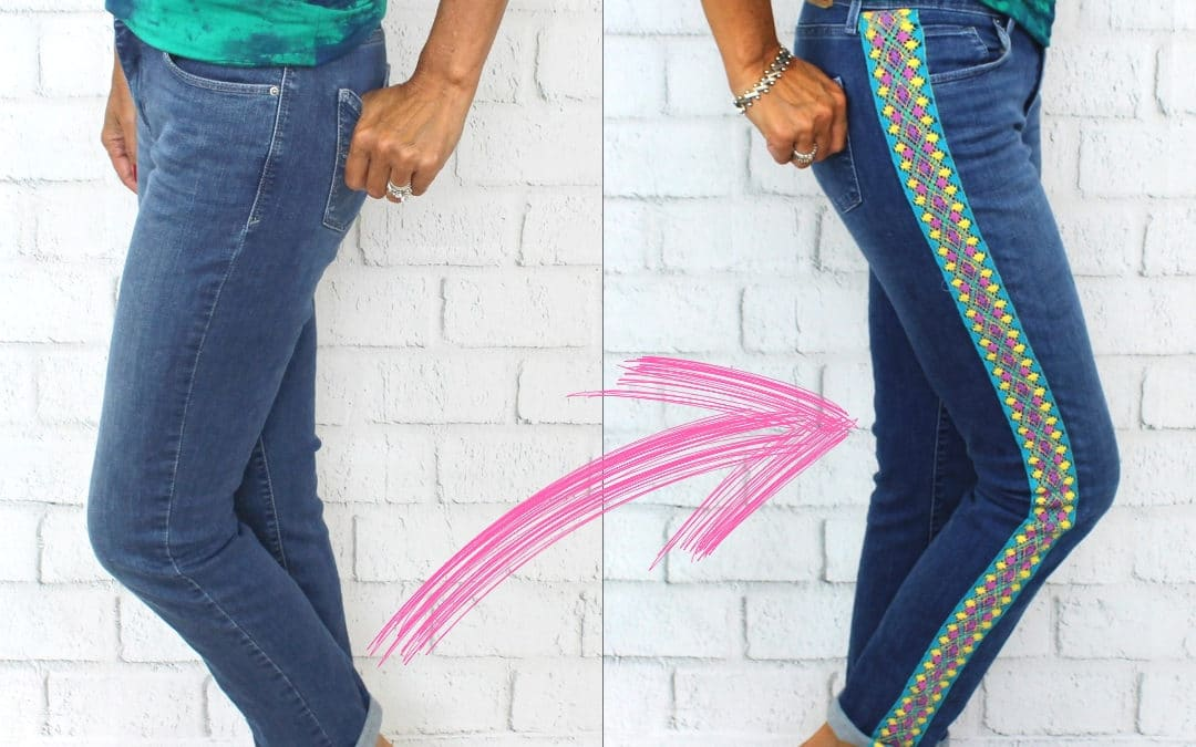 DIY: Refashion Jeans with Trim